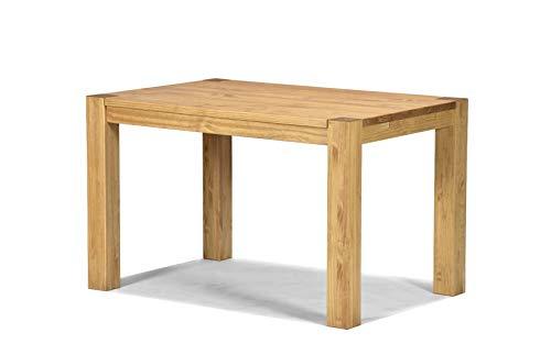 Naturholzmöbel Seidel Esstisch Rio Bonito 120x80 cm, Pinie Massivholz, geölt und gewachst, Holz Tisch für Esszimmer, Wohnzimmer Küche, Farbton Honig hell, Optional: passende Bänke und Ansteckplatten