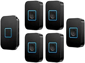 Wireless Doorbell, Long Range Waterproof Electric Door Chime Kit 5 Push Button and 1 Plug-in Receivers with Flash,Black