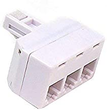 Modular 3-Way Line Wall Splitter Adapter RJ11 Ivory Phone Three Way Triplex Divider RJ-11 Plug Jack Cord Splitter Audio Data Signal Cable Triple Connector Outlet Snap-In Component