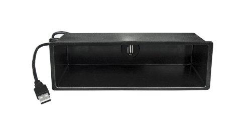 Watermark WM-5072 Universal DIN Autoradio Ablagefach Einbaurahmen mit USB Anschluss Verlängerung 2m