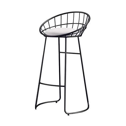 Bijzetstoel Barkruk met rugleuning Spons metalen poten Kitchen Kruk, Staafstoel Retro Restaurant Hoge Kruk Staafstoel Barkruk zithoogte 65 / 75cm (Color : Black, Size : 65cm)