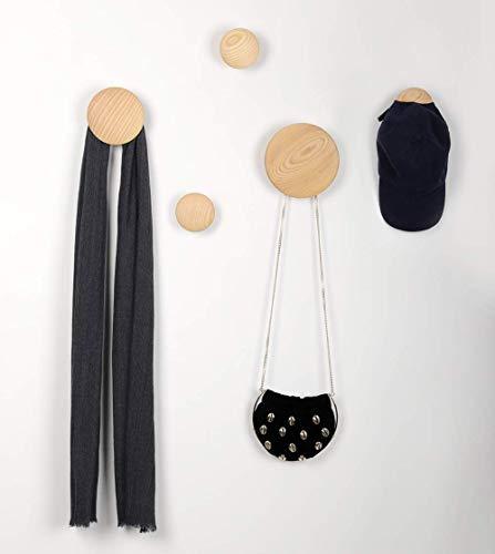 JIYUERLTD Wandhaken Kleiderhaken 5 Stück Runde Garderobenhaken Türhänger Haken für Wand, Wohnzimmer, Badezimmer, Innenraum Dekor.(Holz)