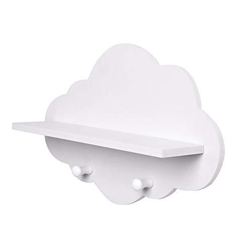 a Forma di Nuvola in Legno Stoccaggio Galleggiante Monte Mensola Hook Holder Archiviazione Bianco