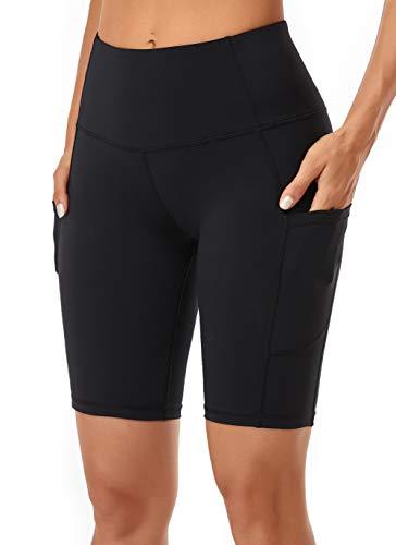 Oalka Women's Yoga Short Side Pockets High Waist Workout Running Shorts Black M