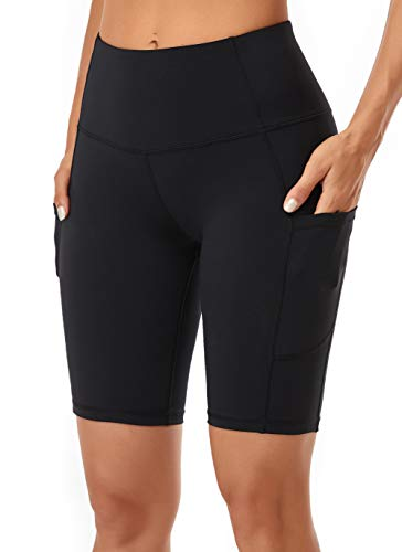 Oalka Women's Yoga Short Side Pockets High Waist Workout Running Shorts Black L