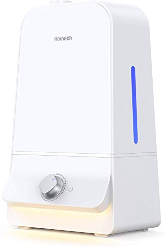 Homech 6L Cool Mist Humidifiers Quiet Ultrasonic Humidifier 100 Hours, Easy to Clean, for Nursery Babies Room Large bedroom Living  Guitar  Room 360° Nozzle ,Tank-Removal and Waterless Auto Shut-Off