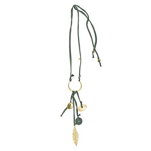 PAULA ALONSO PA Lange Halskette aus Halbmond und Blattschnur