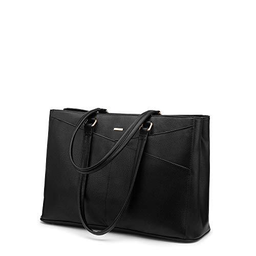 Handtasche Laptoptasche Damen 15,6 Zoll Handtasche Business Laptop Schultertasche Tote Bag Aktentasche Leicht Laptop Notebook für Büro Schule Einkauf Reisen Schwarz