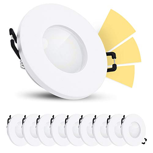 linovum ISAWO LED Einbaustrahler 10er Set Dimmbar ohne Dimmer IP65 - LED GU10 5W warmweiß 230V - fourSTEP Badspot weiß rund