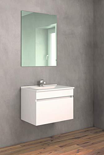 CTESI Conjunto de Mueble de baño Suspendido con Lavabo de Porcelana y Espejo - 1 cajón - El Mueble va MONTADO - Modelo Soki (60 cms, Blanco)