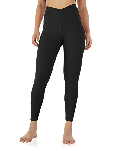 ODODOS Women s Cross Waist 7 8 Yoga Leggings with Inner Pocket, Workout Running Tight Yoga Pant-Inseam 25 , Black, Large
