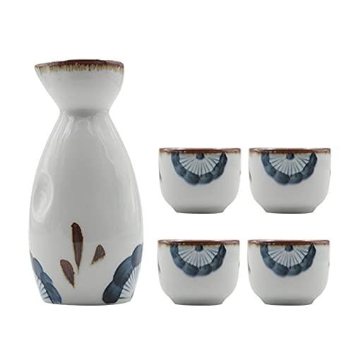 ROSG Tazas de cerámica de cerámica pintadas a Mano Estilo japonés, Tazas de licores domésticas, 1 Botella de Sake y 4 Tazas de Sake, Conjunto de Regalos japonesas Especiales