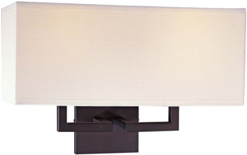 George Kovacs P472-617, Wall Sconce Lighting with Shades, 2 Light, 120 Total Watts, Bronze