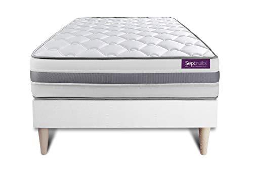 Matelas + sommier kit Blanc 90x190 Memo Spring Ressorts ensachés Maxi épaisseur | Epaisseur : 22 cm | Confort : Ferme
