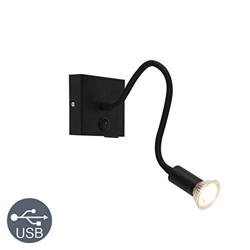 QAZQA Moderne flexibele wandlamp USB zwart - Zeno Staal Langwerpig/Vierkant Geschikt voor LED Max. 1 x 50 Watt