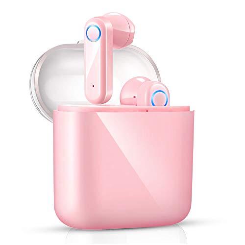 yobola Cuffie Bluetooth, Auricolari Bluetooth 5.0 56h Playtime 3D stereo HD Cuffie wireless con Microfono, Binaurale Call auto Pairing, Auricolari Wireless con custodia di ricarica portatile