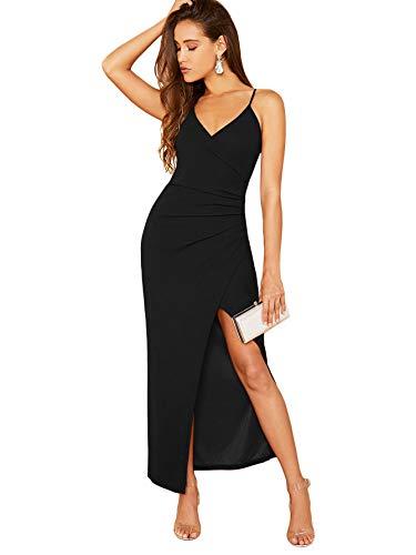 SOLY HUX Damen Ärmellos Partykleid Elegant Sommerkleid Spaghettiträger Maxikleid V-Ausschnitt Cami Kleider mit Schlitz Schwarz XS