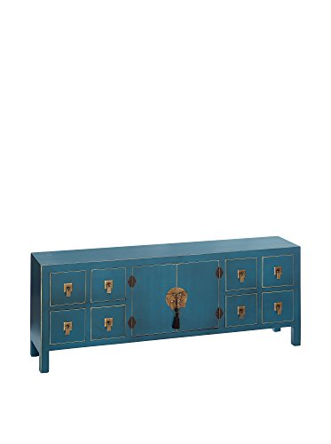 ORIENTAL FEELING Aparador bajo Oriental Azul, Madera contrachapada, 130x50.5x24 cm