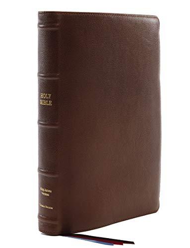 KJV, Reference Bible, Center-Column Giant Print, Premium Goatskin Leather, Brown, Premier Collection, Comfort Print: Holy Bible, King James Version