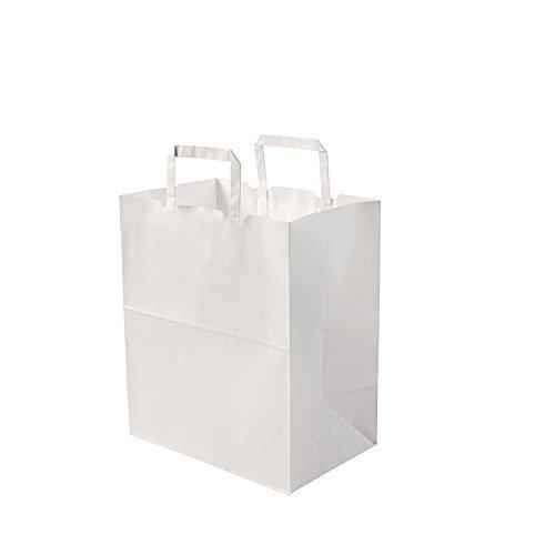 BIOZOYG bolsas papel blanco con Asa I bolsa papel respetuosa del medio ambiente hecha de papel Kraft I bolsa regalo biodegradable, bolsas compostable I 250 x bolsas papel blanco con Asa de 26x17x25 cm