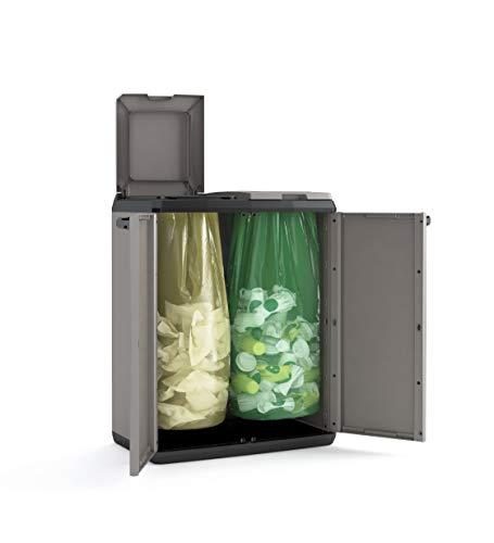 Keter Split Premium Recyclingschrank, schwarz/grau, 68 x 39 x 92 cm, mit Drucköffnung