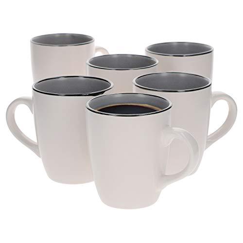 Van Well 6er Set Kaffeebecher Campo grau | 430 ml | 6 Personen | XL-Pott | Kaffeebecher | edle Keramiktassen | Jumbotassen | Mug | Gastro