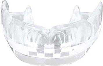 BAY® CE DOPPEL Profi Smile - klar Sport-Zahnschutz mit Hygiene Box, CE GEPRÜFT, Mundschutz, Junioren, Senioren, Farbe weiß transparent durchsichtig