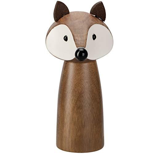 WENBING Pfeffermühle Holz, Tierneuheit Einstellbare Holzsalz- und Pfeffermühlen, ideal für Sesam, Reis, Zucker, Mungobohnen, Pfeffer und Meersalz,Fox