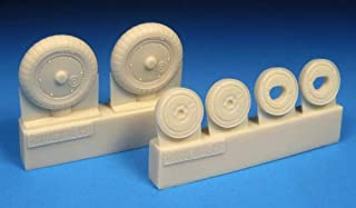 BarracudaCast 1/48 Scale Resin Detail Bf 109G-5/G-14 Wheels, Ribbed Hub Ribbed Tire - BR48387