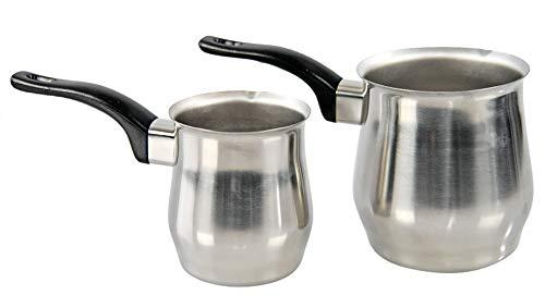 HOME-X Juego de 2 ollas de fusión de acero inoxidable, mini cacerolas con caño vertedor, calentador de leche de estufa, cafetera turca, calentador de salsa, olla de fusión de...