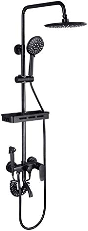 Cxmm Dusche Wasserhahn Set, Vintage Messing Duschsystem gehren Regendusche Mixer Set Antik Messing fertig schwarz (Gre  C)