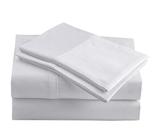 "100% Organic Cotton Pure White Full-Sheets Set, 4-Piece Pure Organic Cotton Long Staple Percale Weave Ultra Soft Best Bedding Sheets for Bed, Breathable, GOTS Certified, Fits Mattress Upto 15"" Deep"