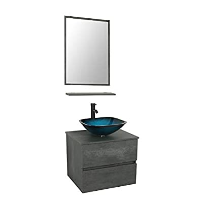 24 Wall Mounted Bathroom Vanity and Sink Combo,Concrete Grey Color Vanity Set with 2 Drawers,Ocean Blue Square Tempered Glass Vessel Sink Top,W/ORB Faucet,Pop Up Drain,Mirror Inc