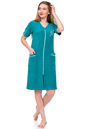 Brighton Robes Women's Turkish Terry Cotton Zipper Front Short Sleeve Two Pocket Robe Sleepwear Beach Dress (Medium, Green)