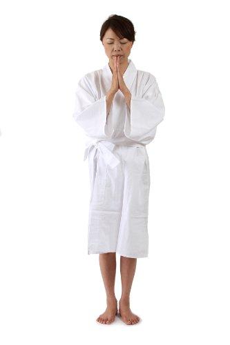 滝行用 着用白衣(無地タイプ) 男女兼用 様々な修行に使用できます【お遍路用品/巡礼用品】 (LL)