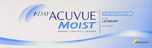 Acuvue 1-Day Moist For Astigmatism Tageslinsen weich, 30 Stück / BC 8.5 mm / DIA 14.5 mm / CYL -1.25 / ACHSE 30 / -0.5 Dioptrien