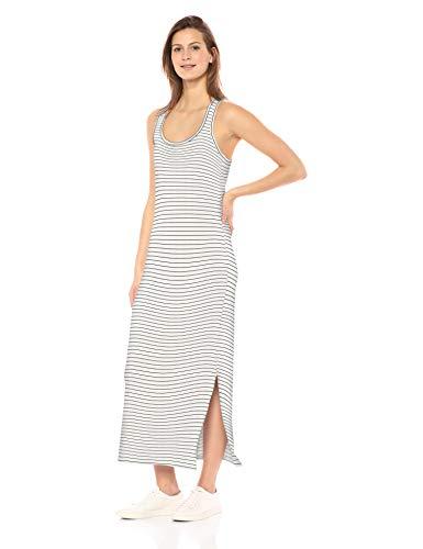 Amazon-Marke: Daily Ritual Damen Maxikleid aus Frottee, Racerback, White/Black Stripe, US S (EU S - M)