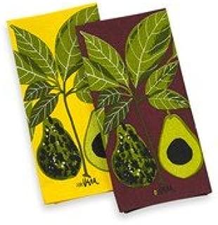 Vera Neumann Ladybug Kitchen Tea Towel, Set of 2, Plum Avocado & Yellow Avocado