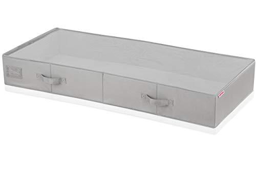Leifheit Unterbettkommode groß grau für Extra-Stauraum, Kommode aus Stoff für staubfreie Lagerung, stabile Aufbewahrungsbox in schicker grauer Optik