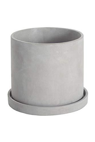 Ekirlin, fioriera in Cemento, Rotonda, per Interni ed Esterni, Contenitore per Piante grasse e Cactus con Vassoio in plastica, Vaso cilindrico per Cemento per la Giornata del Lavoro