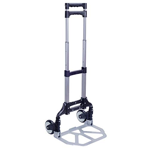 Folding Hand Truck, Portable Aluminum Dolly Luggage Cart 165lbs Capacity with 2 Wheel, Folding Multi-use Carrier with Non-Skid Rubber Handle for Travel (Pure Black)
