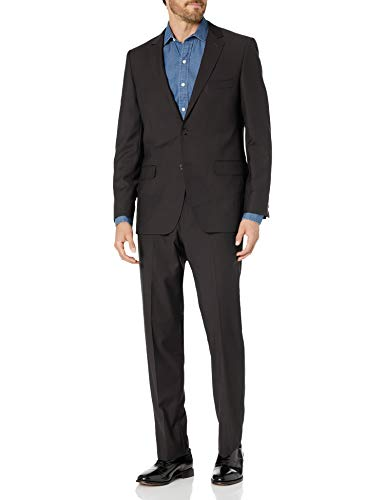 DKNY Men's Slim Fit Wool Suit, Black, 40 Regular