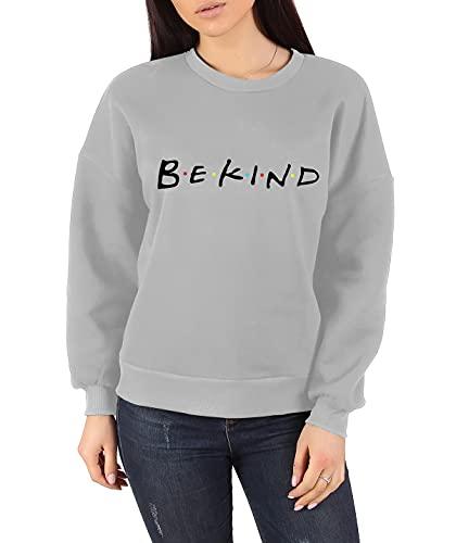 Camiseta de manga larga con estampado Be Kind para mujer, gris, 42