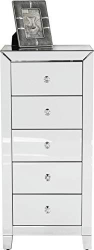 Kare Design Hochkommode Luxury 5 Schübe, glamouröses Highboard, Spiegelkonsole mit Funkelnden Griffen, verspiegeltes Schränkchen im extravagantem Design, Luxus Kommode, (H/B/T) 110x49x41cm