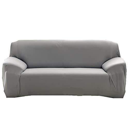 YB&GQ Antideslizante Resistente Elástica Funda Cubre Sofá,Color Sólido Cubre Sofa con Espuma Antideslizante,Lavables Funda De Sofá Protector De Muebles-Gris 57-73inch(145-185cm)