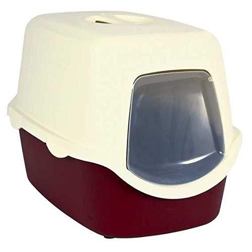 Trixie 40273 Katzentoilette Vico, mit Haube, 40 × 40 × 56 cm, koralle/weiß