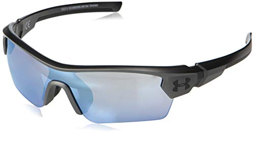 Under Armour Kids' Menace Wrap Sunglasses Shield, Gray/Tuned Baseball Lens, 122 mm