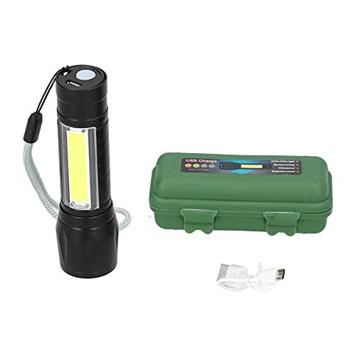 Hoseten Mini Linterna, Portátil Linterna de Mano Impermeable Recargable por USB Aleación de Aluminio con Cordón de Luz Lateral COB para Senderismo para Camping para Pesca Nocturna