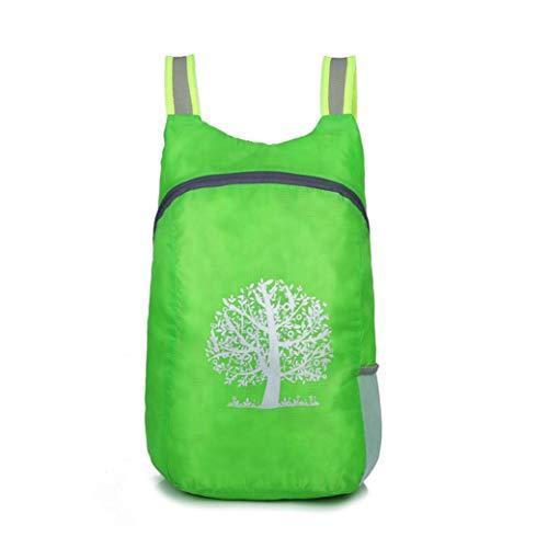 PEKLOKIW Mochila de senderismo plegable ultraligera, unisex, mochila de día, mochila de viaje, impermeable, multifuncional, plegable, informal, para camping, verde,