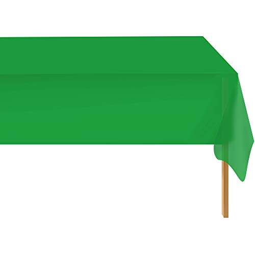 Green 6 Pack Standard Disposable Plastic Party Tablecloth 54 Inch. x 108 Inch. Rectangle Table Cover By Zimpleware